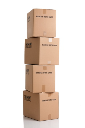 fragile industry: Stack of cardboxes ready to be shipped isolated on white background