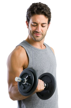 Strong young man lifting weight for fitness exercise, isolated on white background photo