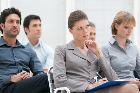 Business group of people attending an educational presentation  photo