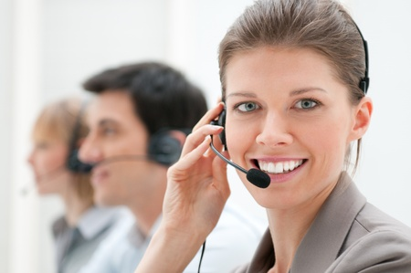 call center office: Business woman and team working at call center