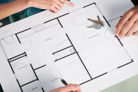 High view closeup of a new house plan and keys Stock Photo - 13025756