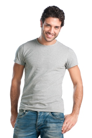 흰색 배경에 고립 된 미소 만족 남자의 초상화