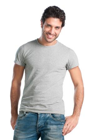 bel homme: Portrait de Guy satisfaits sourire isol� sur fond blanc