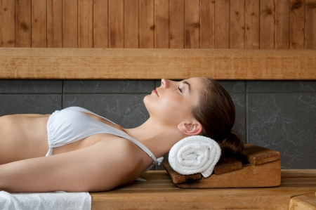 Closeup of beautiful lady relaxing at sauna in a spa center Stock Photo - 13741854