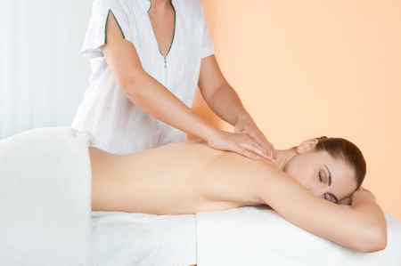 Relaxing hand massage on back at beauty spa salon Stock Photo - 14272873