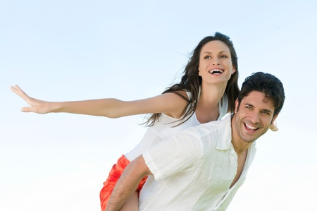 freedom couple: Happy joyful couple enjoy the freedom of the summer Stock Photo