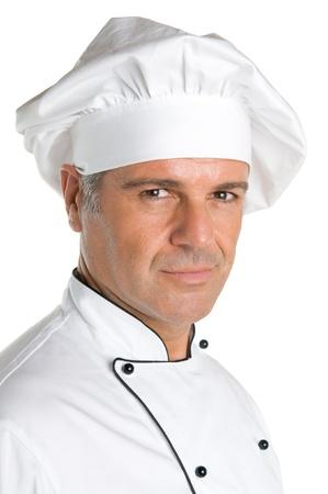 cocinero: Retrato satisfecho cocinero maduro aislado sobre fondo blanco
