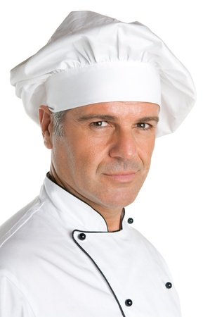 Satisfied mature chef portrait isolated on white background photo