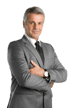 satisfied: Happy satisfied mature businessman looking at camera isolated on white background Stock Photo