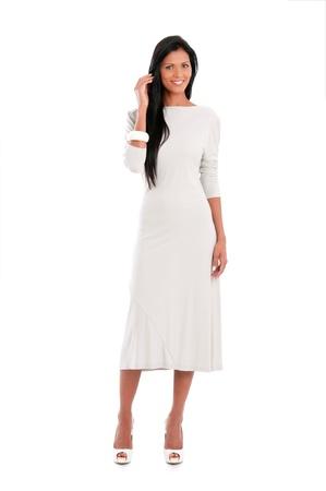 Full length portrait of beautiful latin woman isolated on white background Stock Photo - 16126476