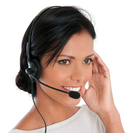 Beautiful latin woman with headset at call center isolated on white background Stock Photo - 16126490