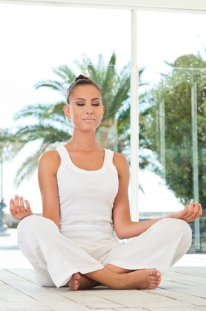 Young Beautiful Woman Doing Yoga In Lotus Position