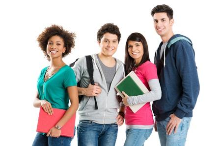 młodzież: Grupa wielu etnicznych studentów samodzielnie na biaÅ'ym tle