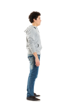 contemplated: Young Boy Standing Isolated On White Background