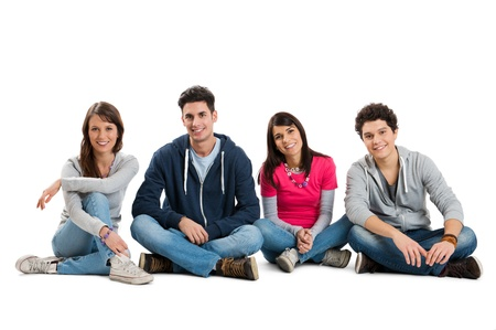 girl youth: Group Of Teenager Isolated Sitting On White Background  Stock Photo