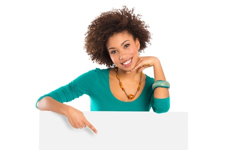 Woman Isolated Pointing On Billboard Over White Background Stock Photo