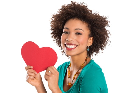 afro curly hair: Portrait Of Woman Isolated Holding Heart Shape Over White Background