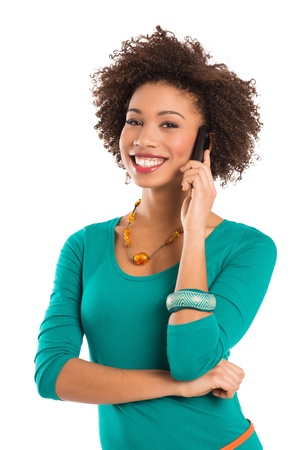 Woman Isolated Talking On Cellphone Over White Background  photo