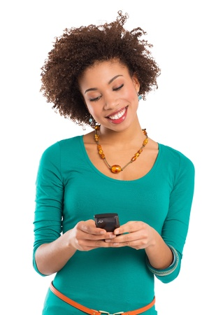 african girls: Girl Look and Writes on the Phone Isolated on a White Background