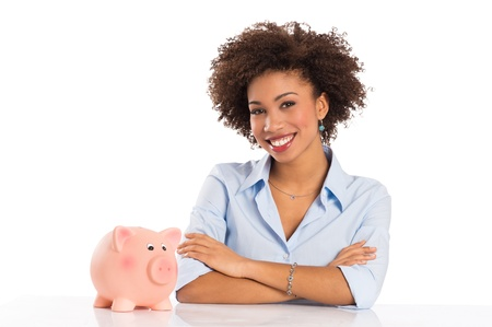 account executive: Businesswoman With Piggybank Isolated Over White Background