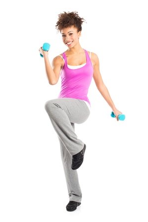 Girl Using Dumbbells For Fitness Workout Isolated on White Background photo