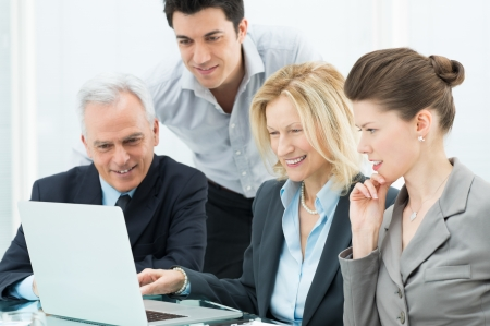 CONFERENCE TABLE: Portrait Of Successful Business People During a Conference Stock Photo