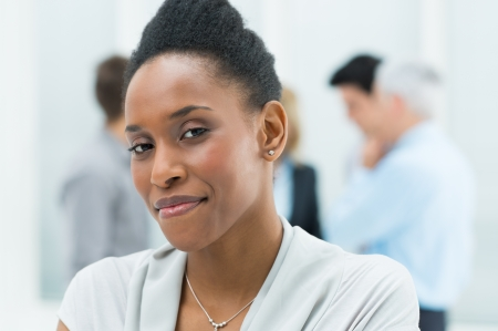 african lady: Portrait Of Young African American Businesswoman In Her Office