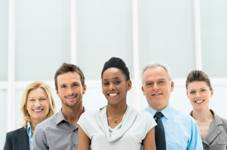 Smiling multi ethnic business team with copy space  Stock Photo
