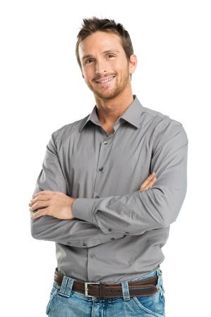 白い背景上に分離されて幸せな若い男の肖像