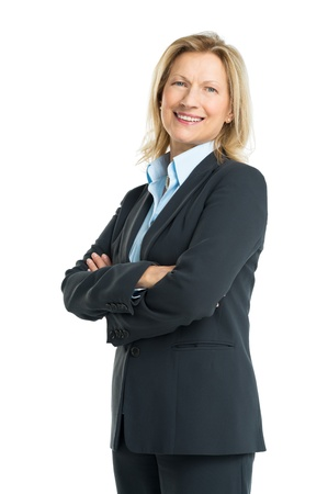 woman standing: Happy Senior Businesswoman Isolated On White Background Stock Photo
