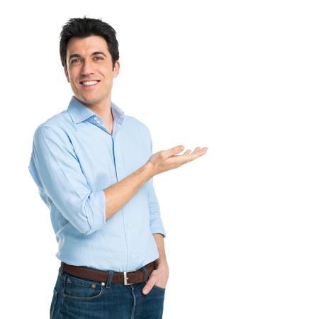 Hombre feliz joven aislado en fondo blanco Foto de archivo