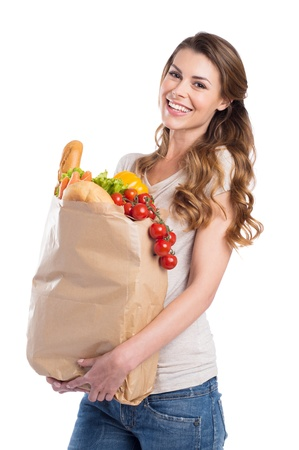grocer: Portrait Of Happy Young Woman Holding Grocery Bag Over White Background
