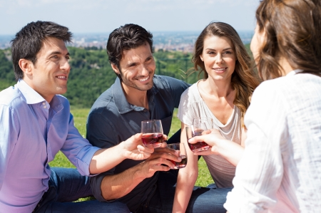 friends drinking: Group Of Happy Young Friends Celebrating Outdoor