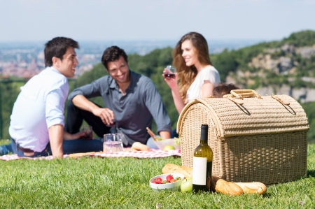 Picnic Basket In Front Of Group Of Friend Enjoying Wine Outdoor
