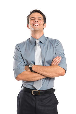 Smiling Young Businessman With Arm Crossed Isolated On White Background photo