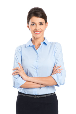 formal attire: Portrait Of Happy Young Businesswoman Isolated Over White Background Stock Photo
