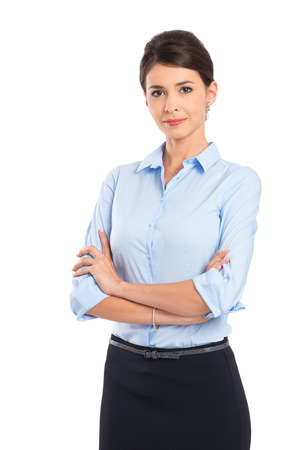 腕を持つ若い美しい女性実業家を渡った分離ホワイト バック グラウンド