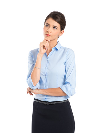 employee: Young Thoughtful Businesswoman Isolated Over White Background