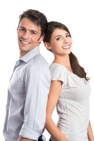 latin look: Happy Young Couple Isolated Over White Background Stock Photo