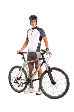 Portrait Of A Young Male Cyclist Isolated On White Background photo