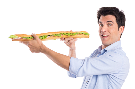 Portrait Of Hungry Man Holding Long Baguette Sandwich Isolated On White Background Stock Photo - 22583756