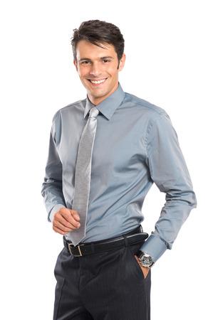 podnikatel: Šťastný Obchodník s rukou v kapse izolovaných na bílém pozadí Reklamní fotografie