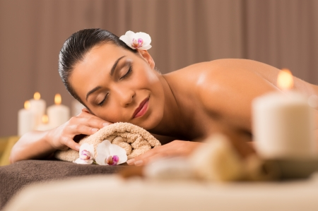 Serene Young Woman Relaxation In Spa Salon Stock Photo - 24355586