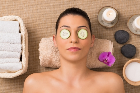 Beauty Treatment With Cucumber Slices On Eyes Stock Photo - 24355594