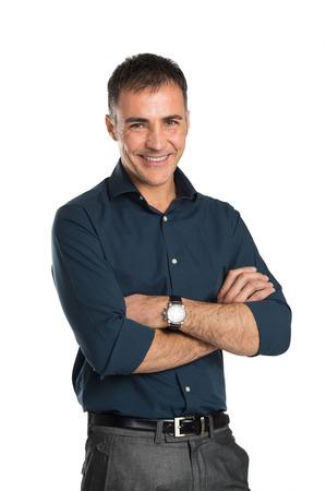 腕の中で幸せなビジネスマンの肖像交差に孤立した白い背景 写真素材