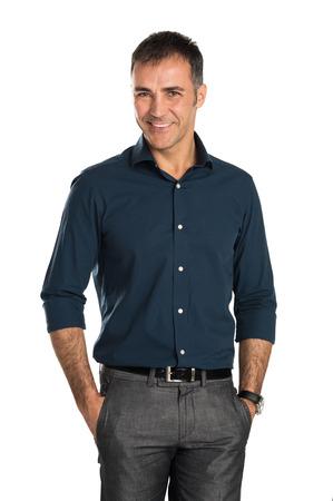 Portrét šťastné podnikatel na kameru na proutí