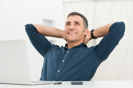 비즈니스맨: 성숙한 남자는 노트북 공상에 앉아 정면 만족