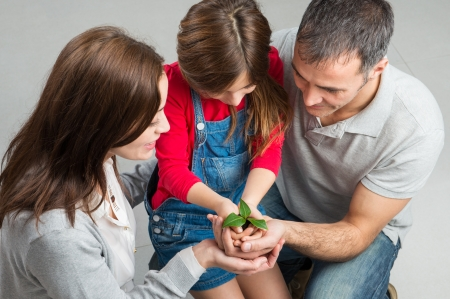 High Angle View Of Family With One Child Holding Sapling Stock Photo - 25272033