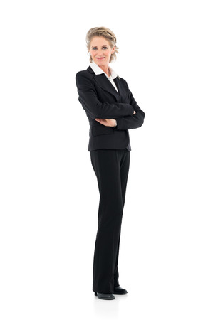 businesswoman: Portrait Of Mature Businesswoman Looking At Camera Isolated On White Background Stock Photo