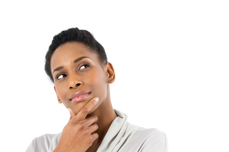 Portrait Of Contemplative African Young Woman Isolated On White Background photo